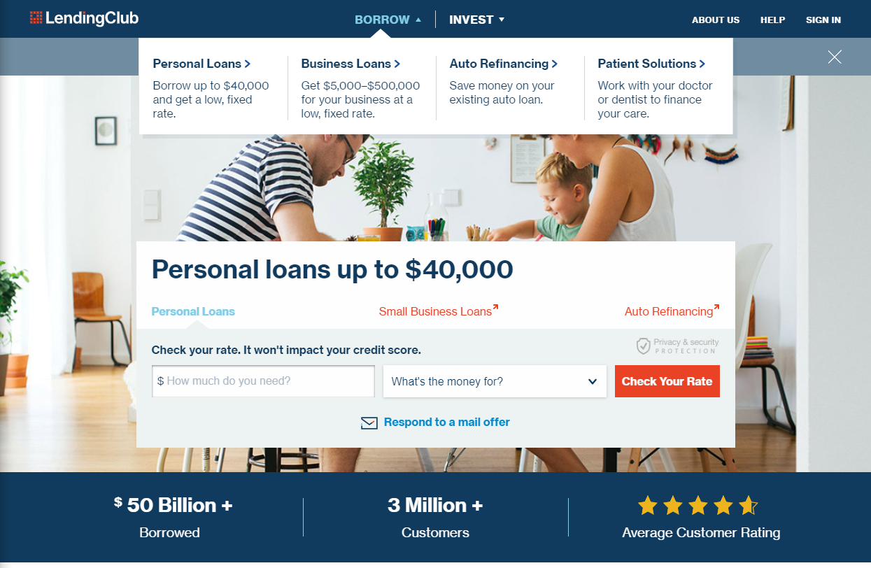 Lendingclub.com website screenshot