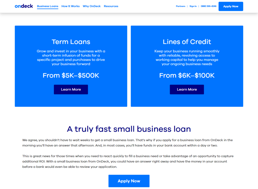 ondeck website screenshot